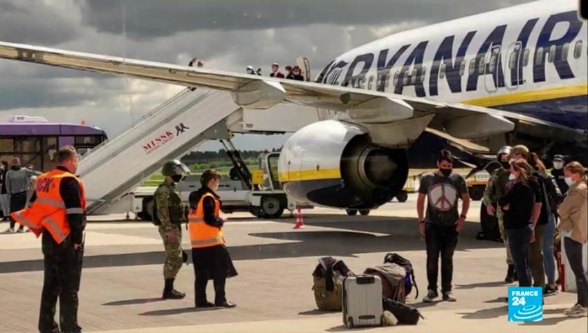 Boeing 737 della Ryanair a Minsk (Bielorussia)